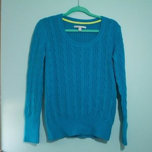 Peacock Blue Cable Knit Sweater